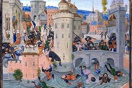 Desenho de uma cidade medieval.