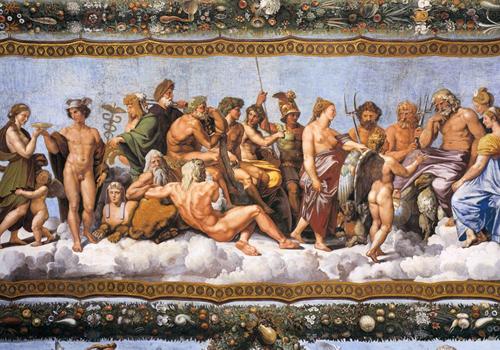 Pintura retratando deuses gregos.