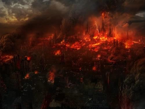 Uma cidade em chamas.