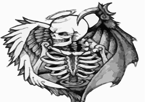 Uma fusão entre esqueleto e anjo.